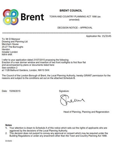 Planning Permission Granted At : 112B Bathurst Gardens, London, NW10 5HX