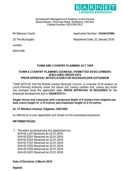 Planning permission granted at : 17 Windsor Avenue, Edgware, HA8 8SR