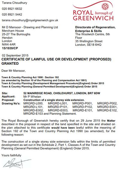 Planning Permission Granted At : 52 Mainridge Road, Chislehurst, London, BR7 6DW