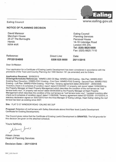Planning permission granted at : 57 D Windsor Road, Ealing, W5 3UP
