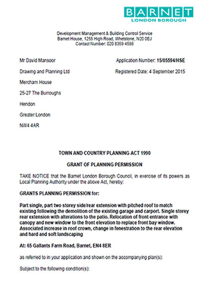 Front Elevation Planning Permission : Planning permission granted at gallants farm road