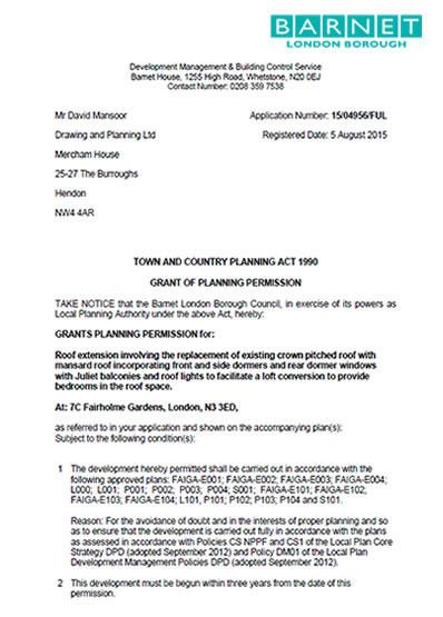 Planning permission granted at : 7C Fairholme Gardens, London, N3 3ED