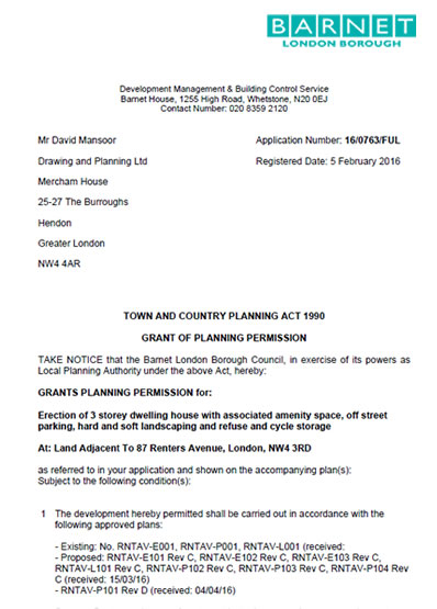 Planning permission granted at : Land Adjacent To 87 Renters Avenue, London, NW4 3RD