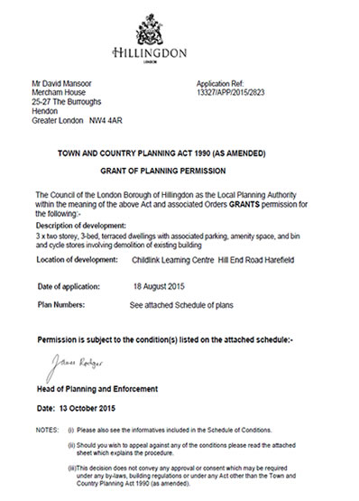 Planning permission granted at : Childlink Learning Centre Hill End Road Harefield, Hillingdon, UB9 6LH