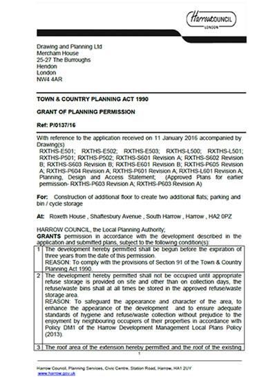 Planning permission granted at : Roxeth House, Shaftesbury Avenue, Harrow, HA2 0PZ