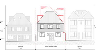 planning permission granted at : 6 Tenterden Gardens, London, NW4 1TE