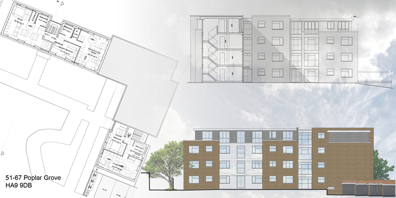 Erection of new flats on top of an existing block at Poplar Grove in Wembley - Approved